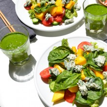 Mango salad with raw vegan blue cheese and green smoothie with seawater