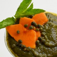 Green smoothie with mint and papaya